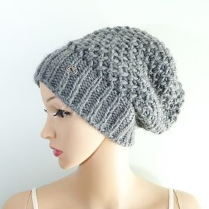 Gray Knitted Basic Beanie